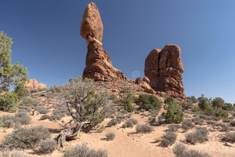 El cepillo equilibrado de la roca y del desierto, arquea el parque nacional Moab Utah imagen de archivo