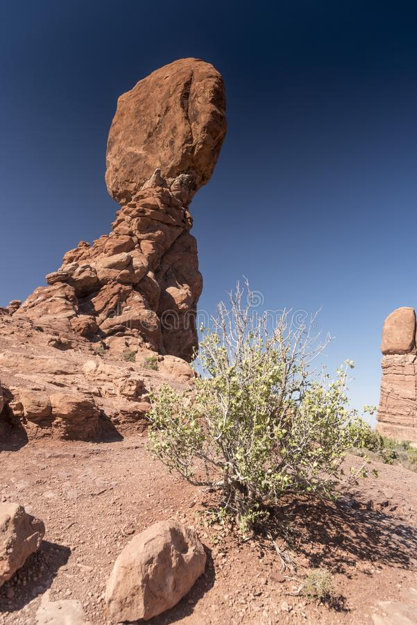 El cepillo equilibrado de la roca y del desierto, arquea el parque nacional Moab Utah foto de archivo