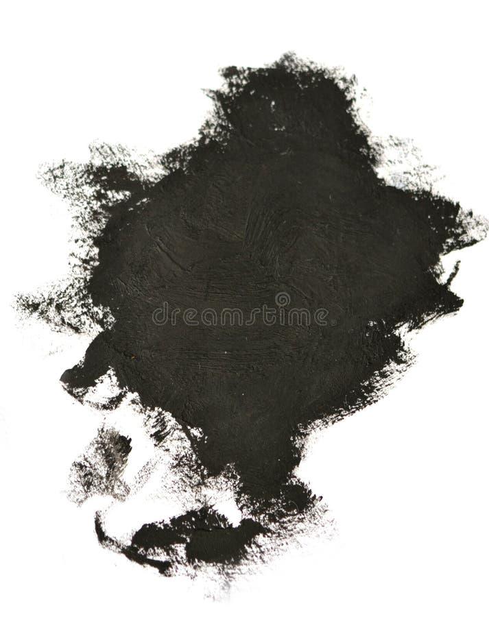 El cepillo negro frota ligeramente las pinturas de aceite en el Libro Blanco aislado imagenes de archivo