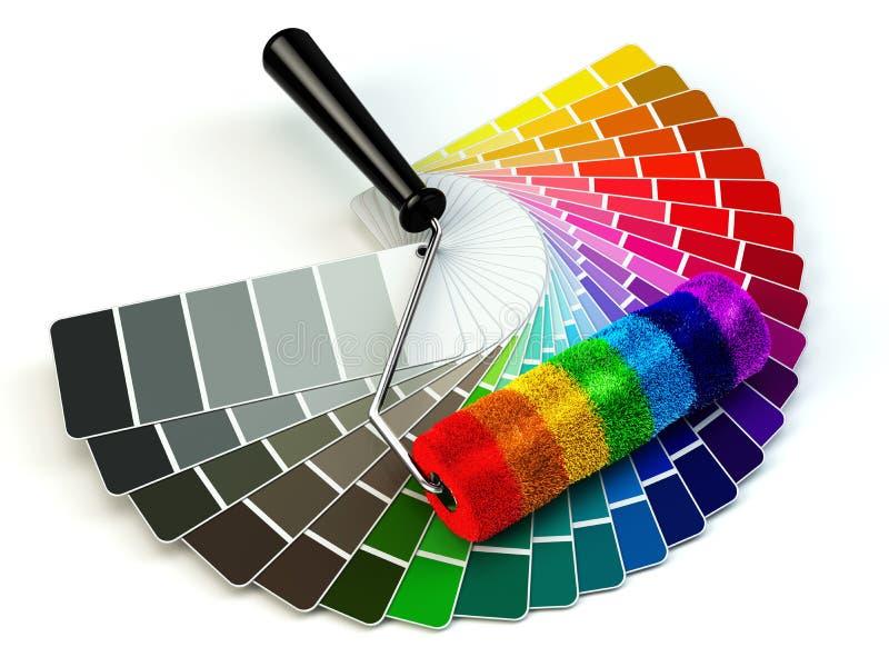 El cepillo y el color del rodillo dirigen la paleta en colores del arco iris stock de ilustración