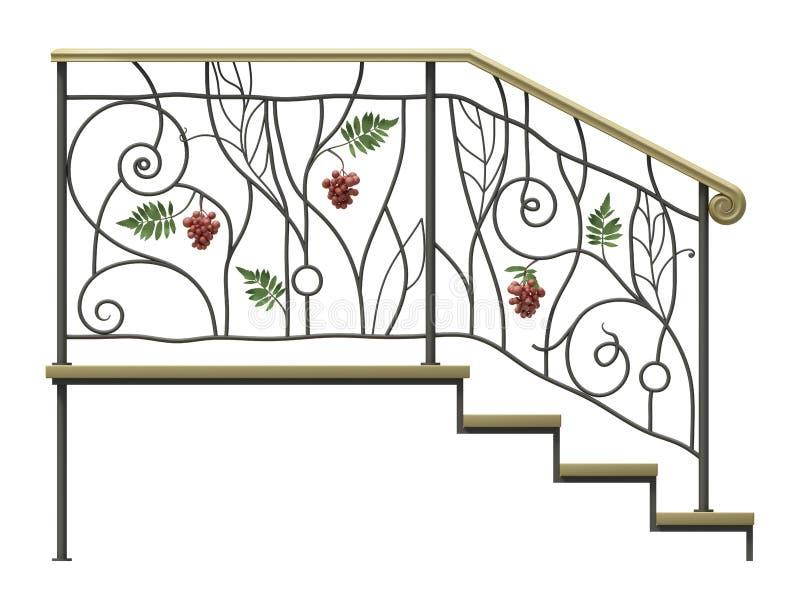 El cercar con barandilla de las escaleras del hierro labrado libre illustration