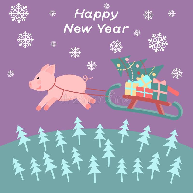 El cerdo con el trineo vuela sobre el bosque libre illustration