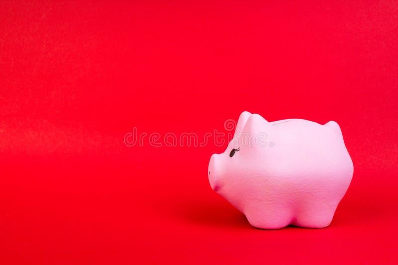 El cerdo del Año Nuevo Cerdo rosado en un fondo rojo con el espacio de la copia imagenes de archivo