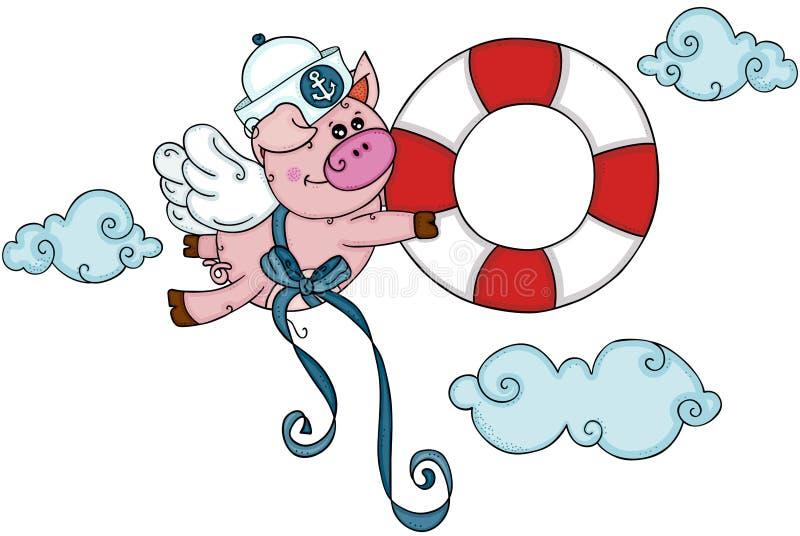 El cerdo del marinero con las alas vuela celebrando una ayuda para ahorrar el flotador de la vida libre illustration