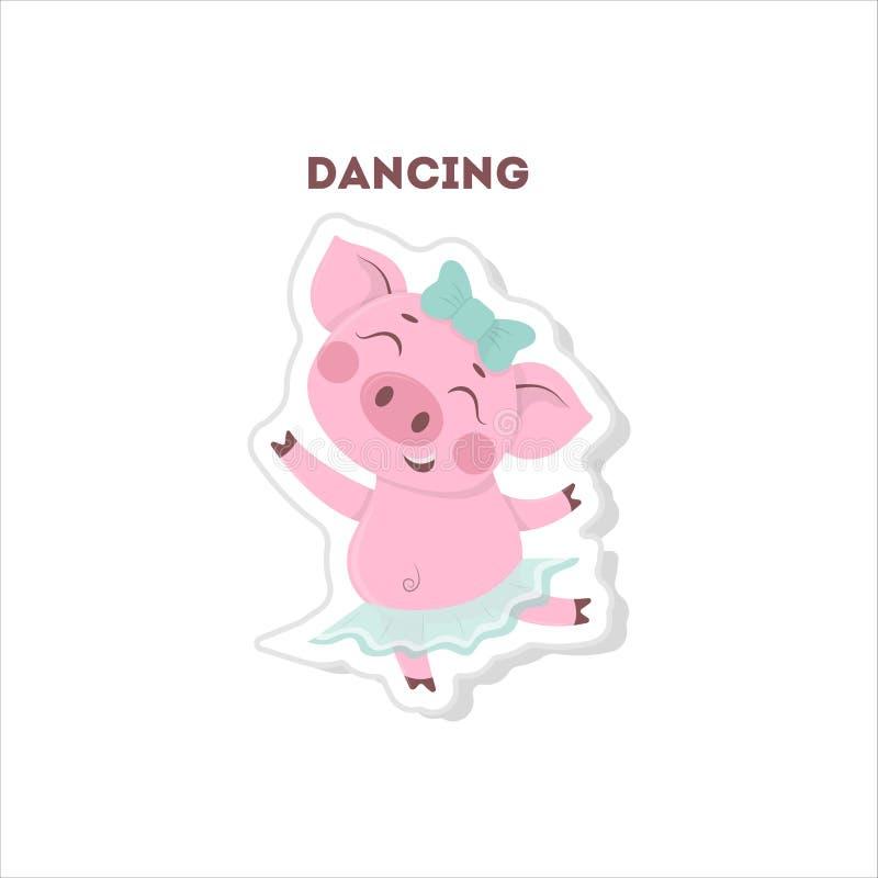 El cerdo divertido escucha la música stock de ilustración
