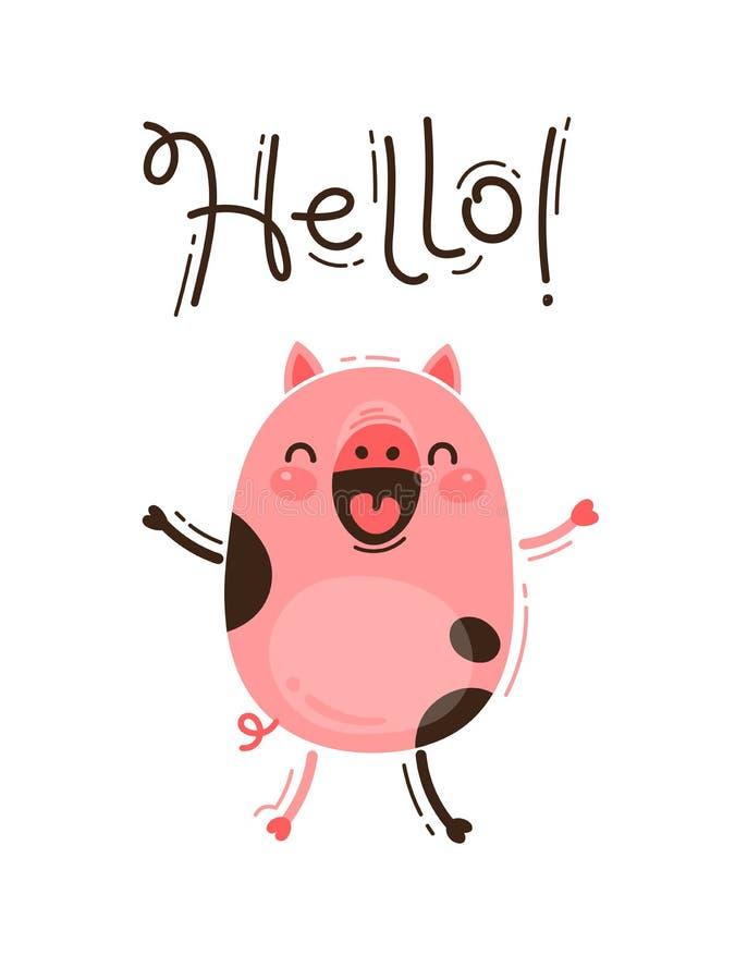 El cerdo divertido le saluda hola Cochinillo rosado feliz Ejemplo del vector en estilo de la historieta libre illustration
