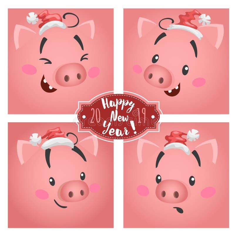El cerdo grande divertido lindo hace frente en los sombreros de la Navidad fijados Para los diseños de las tarjetas y de los cale stock de ilustración