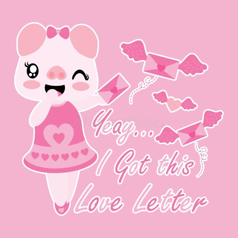 El cerdo lindo consigue la letra de amor con el ejemplo de la historieta de las alas ilustración del vector