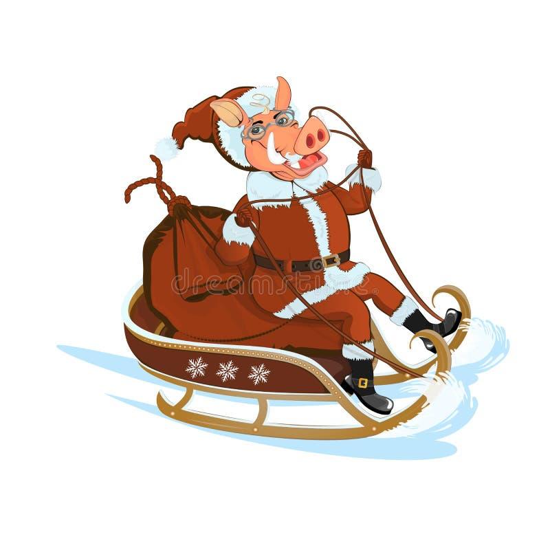 El cerdo Papá Noel está compitiendo con en un trineo con los regalos libre illustration
