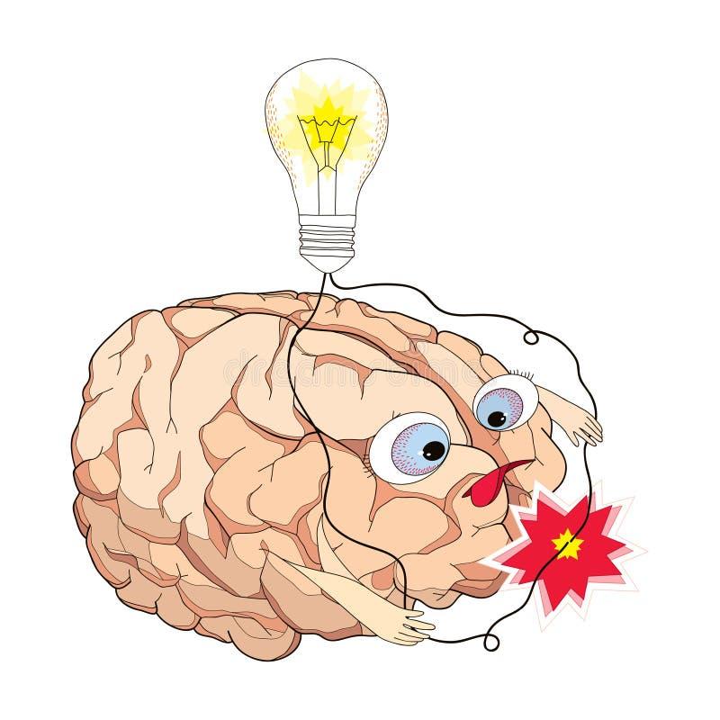 El cerebro con el torneado de la bombilla y los alambres cortocircuitan en estilo de la historieta stock de ilustración