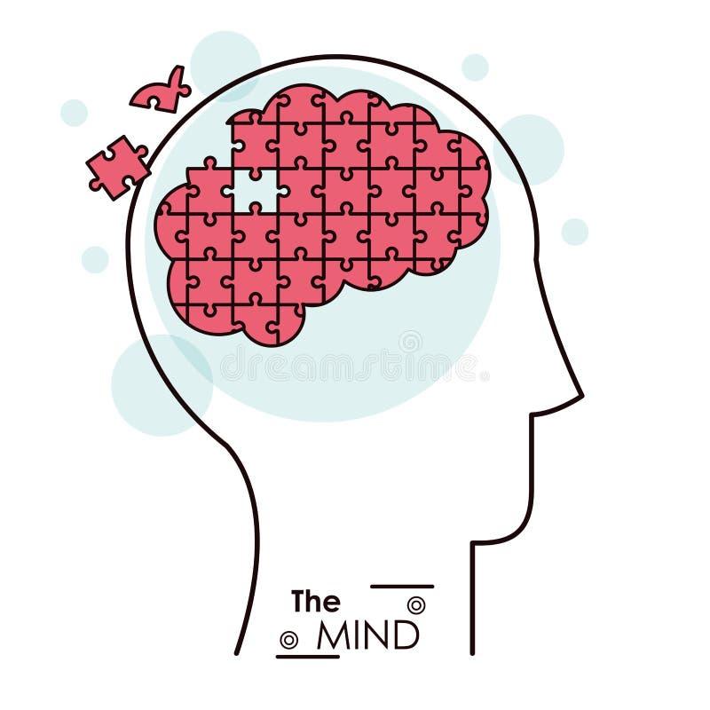 El cerebro del problema del rompecabezas del rompecabezas de la mente ilustración del vector