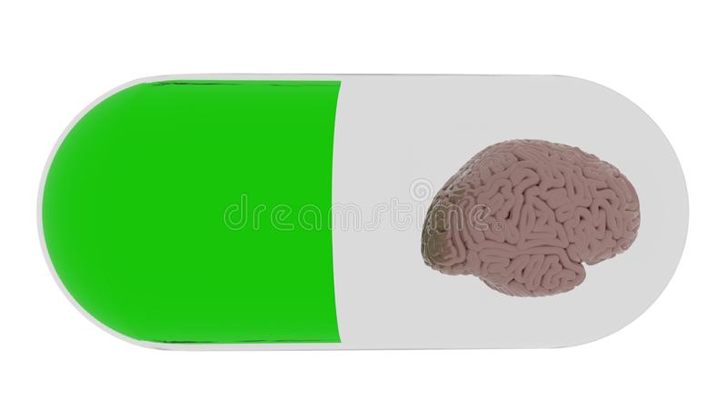 El cerebro elegante de la atención sanitaria en la píldora 3d rinde stock de ilustración