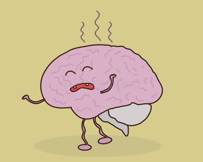 El cerebro es cansado e irritado cólera stock de ilustración