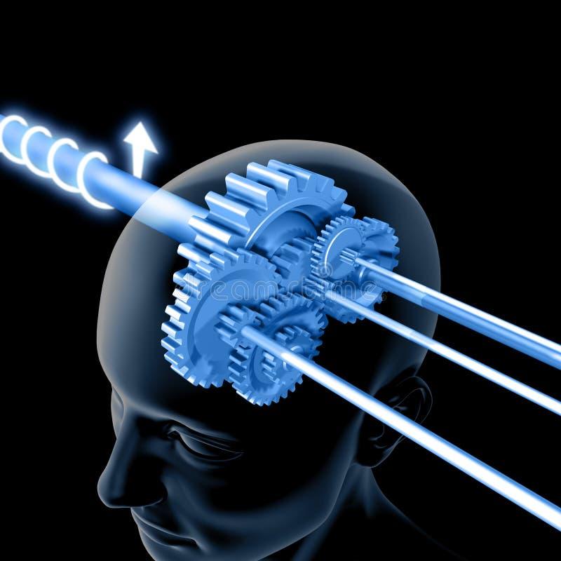 El cerebro está pensando (los engranajes) ilustración del vector