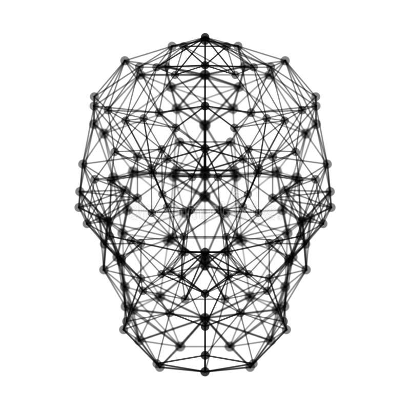 El cerebro humano con la conexión de red digital alinea el aislante del símbolo libre illustration