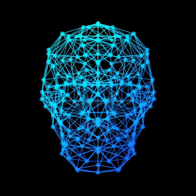 El cerebro humano con la conexión de red digital alinea el aislante del símbolo stock de ilustración