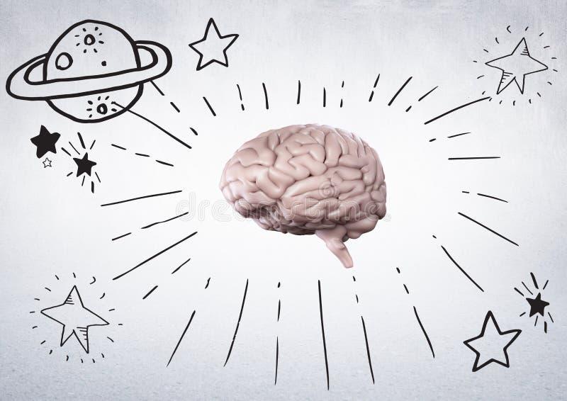 El cerebro rosado con el espacio negro garabatea contra la pared blanca libre illustration