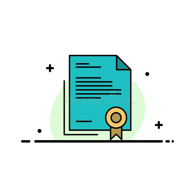 El certificado, negocio, diploma, documento jurídico, letra, línea plana del negocio del papel llenó la plantilla de la bandera d stock de ilustración