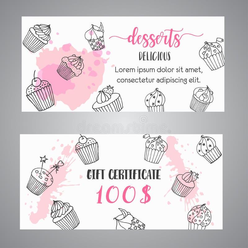 El chèque-cadeaux de la magdalena con las magdalenas handdrawn y rosa salpica Cupón con los postres Bandera del promo para la pan libre illustration