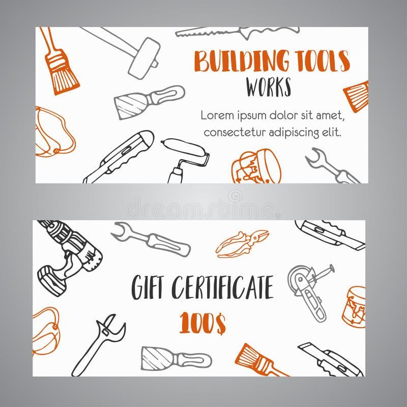 El chèque-cadeaux para las herramientas constructivas almacena banderas dibujadas mano de la herramienta de la construcción de la ilustración del vector