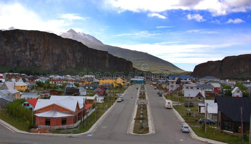 El Chalten patagonia typowy dom mała górska wioska obraz royalty free