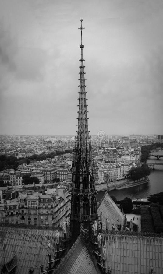 El chapitel de Notre Dame de Paris, vista panor?mica de Par?s y r?o el Sena del tejado de la catedral de Notre Dame, Francia imagen de archivo