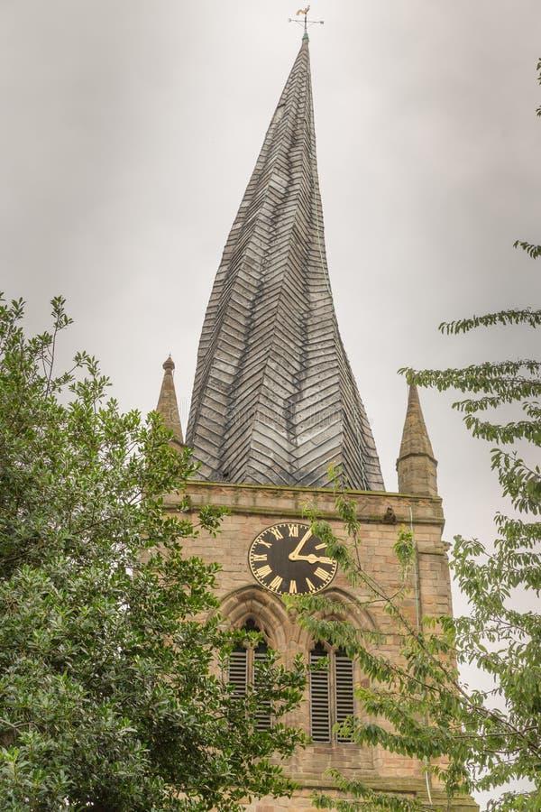 El chapitel torcido en Chesterfield, Derbyshire, Inglaterra foto de archivo libre de regalías