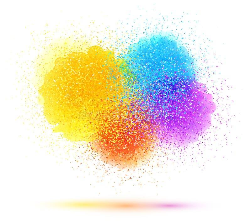 El chapoteo y el polvo coloridos de la pintura se nublan en el fondo blanco libre illustration