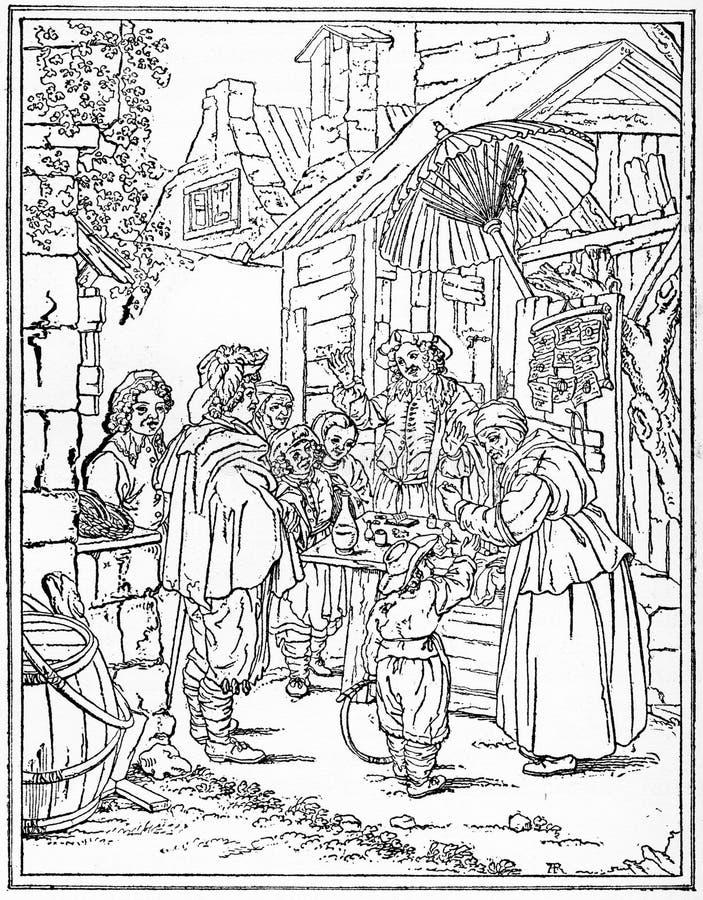 El charlatán, de una pintura de Franz von Mieris ilustración del vector