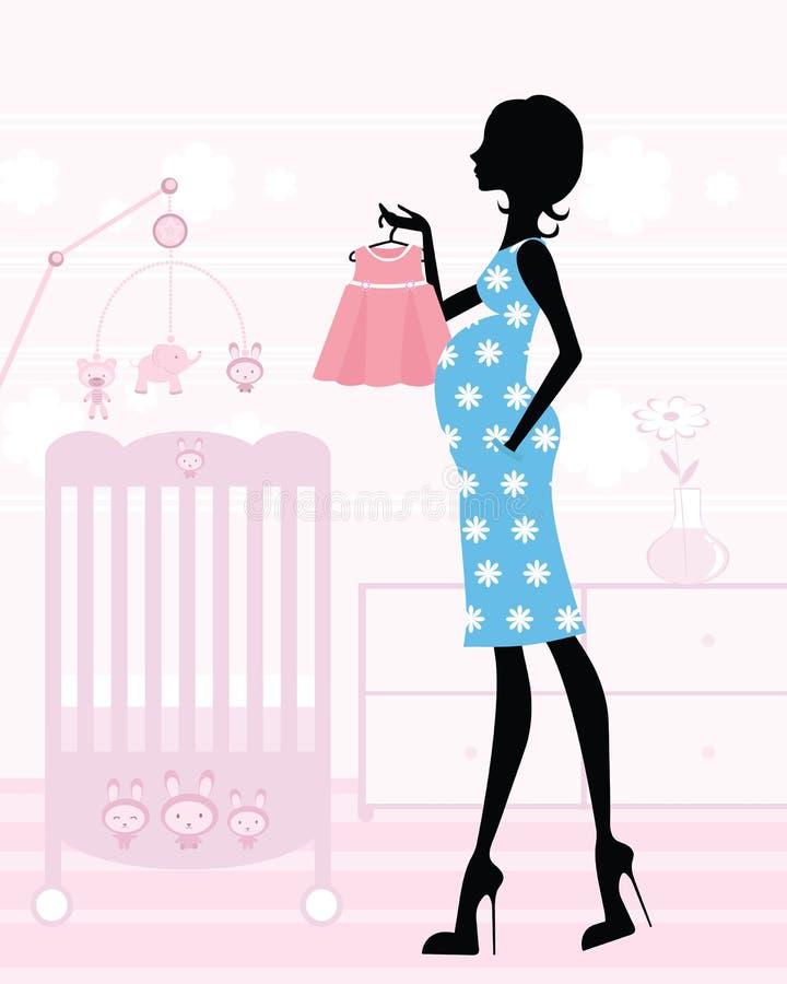 El Chic mama-a-es en su cuarto de niños del `s del bebé ilustración del vector