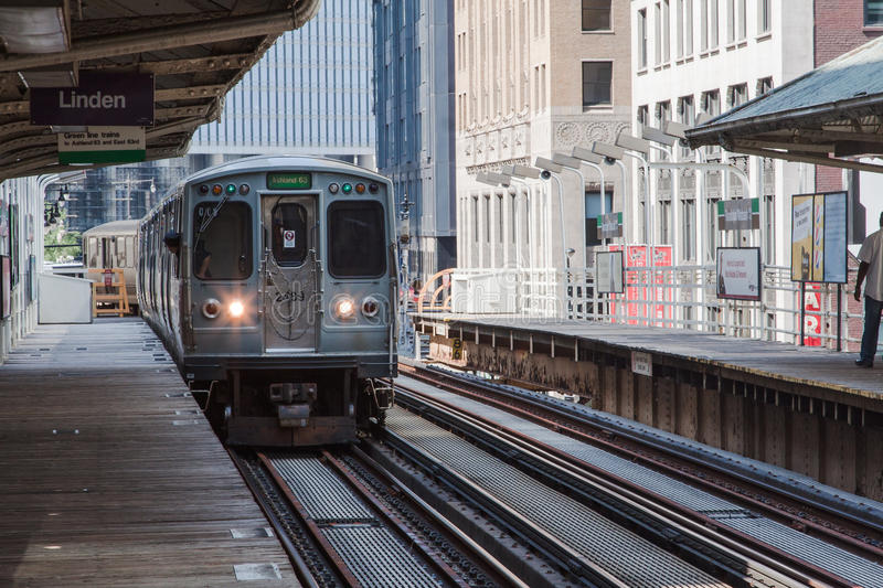 The El in Chicago stock photo