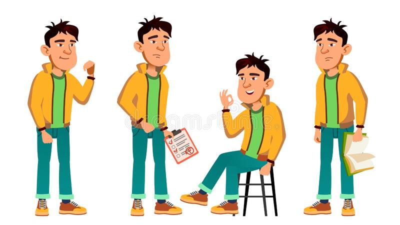 El chico malo asiático plantea vector determinado Alto alumno adolescente Belleza, forma de vida, amistosa Para la postal, aviso ilustración del vector