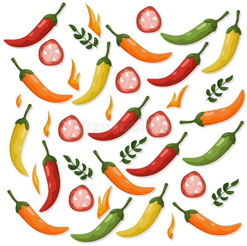 El chile picante sazona el fondo colorido detallado modelo de la plantilla con pimienta del ejemplo del vector ilustración del vector