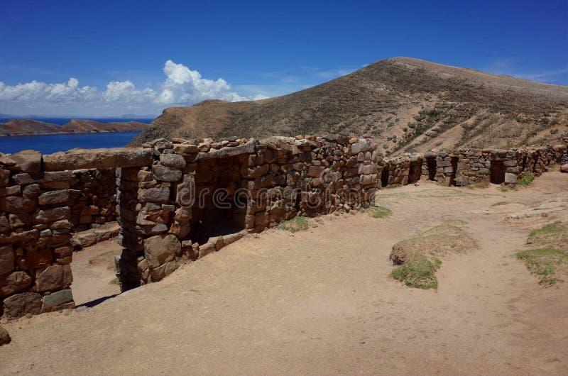 El Chincana Inca Ruins en Isla del Sol en el lago Titicaca imagen de archivo
