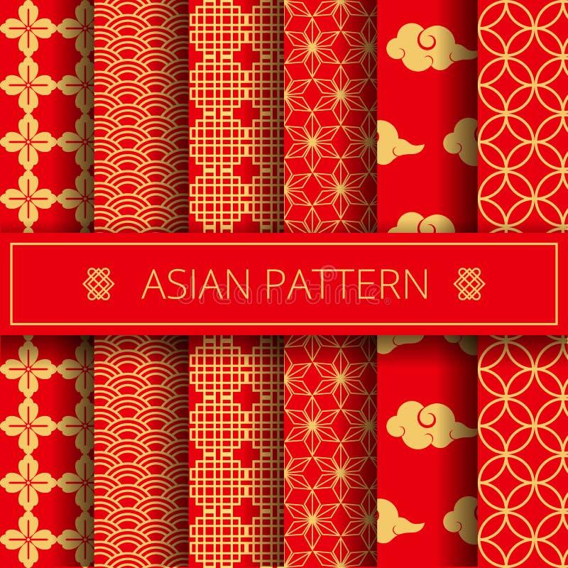 El chino japonés coreano tradicional asiático oriental modela el sistema de elementos de la decoración, fondo en línea de la pági libre illustration