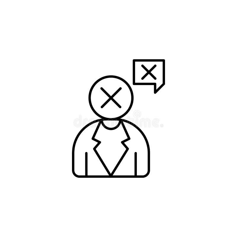 El chisme, no, para el icono Elemento de la línea icono de la concentración stock de ilustración