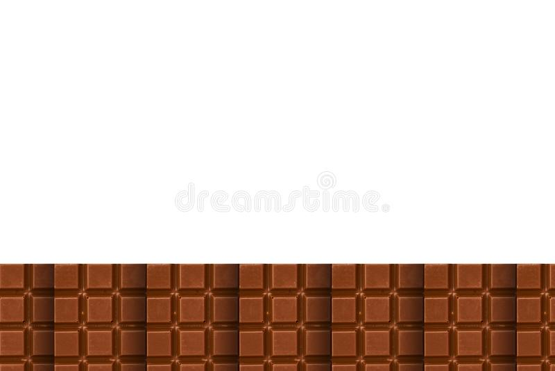 El chocolate junta las piezas del fondo del modelo, endecha plana con el espacio de la copia stock de ilustración