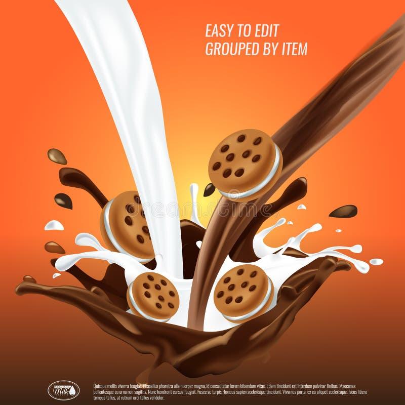 El chocolate líquido y el flujo y el spash de la leche se mezclaron, las galletas del bocadillo, ejemplo del vector 3d stock de ilustración