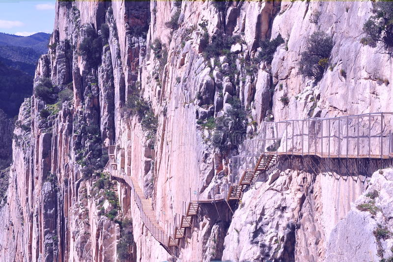 El Chorro峡谷,西班牙 免版税库存照片