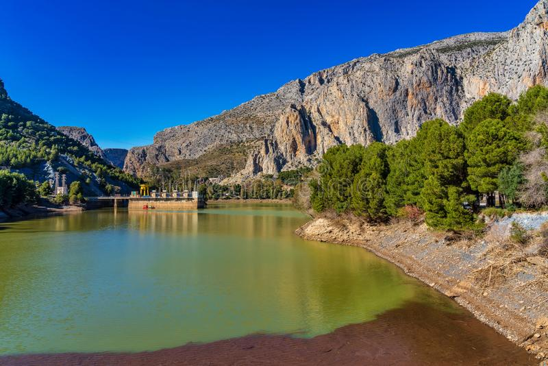 El Chorro gorge along the famous Caminito del Rey path in Andalusia, Spain stock image