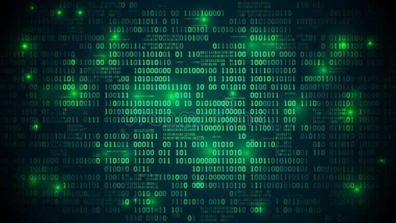 El ciberespacio futurista abstracto con el código binario, fondo de la matriz con los dígitos, organizó bien capas ilustración del vector