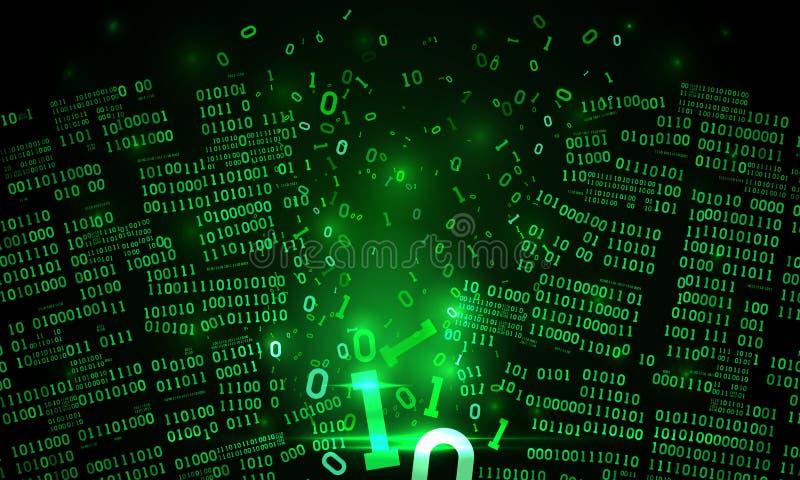 El ciberespacio futurista abstracto cortó los datos binarios, fondo de la matriz, código binario descendente roto, red neuronal g libre illustration