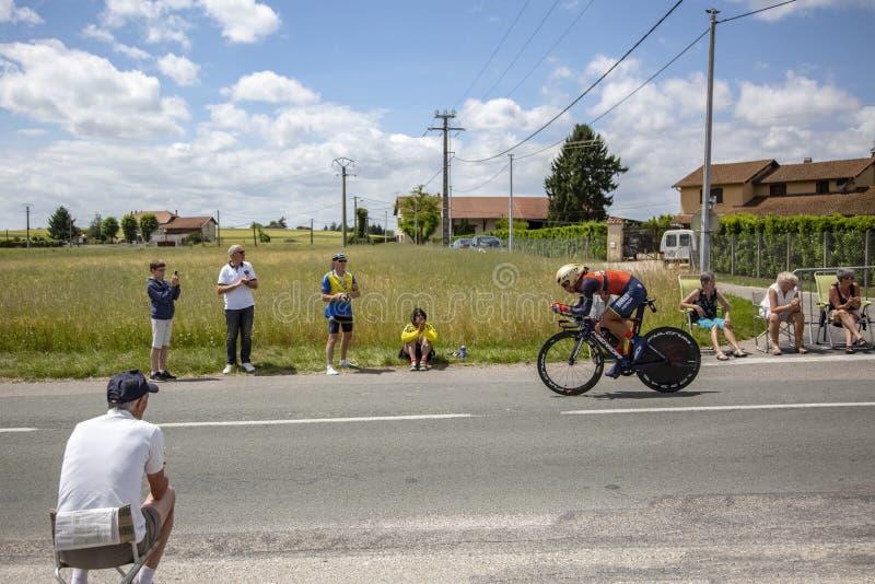 El ciclista Yukiya Arashiro - Criterium du Dauphine 2017 foto de archivo libre de regalías