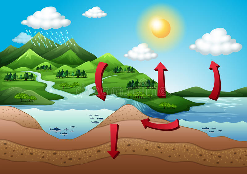 El ciclo del agua ilustración del vector
