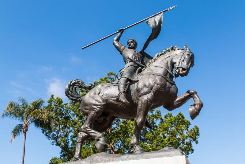 El Cid Campeador för bronsstaty` ` i Balboa parkerar arkivfoton