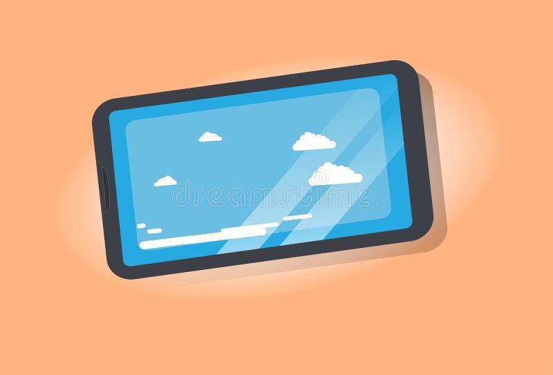 El cielo azul con las nubes blancas resiste a la tecnología digital de la pantalla del smartphone del concepto de la aplicación m stock de ilustración