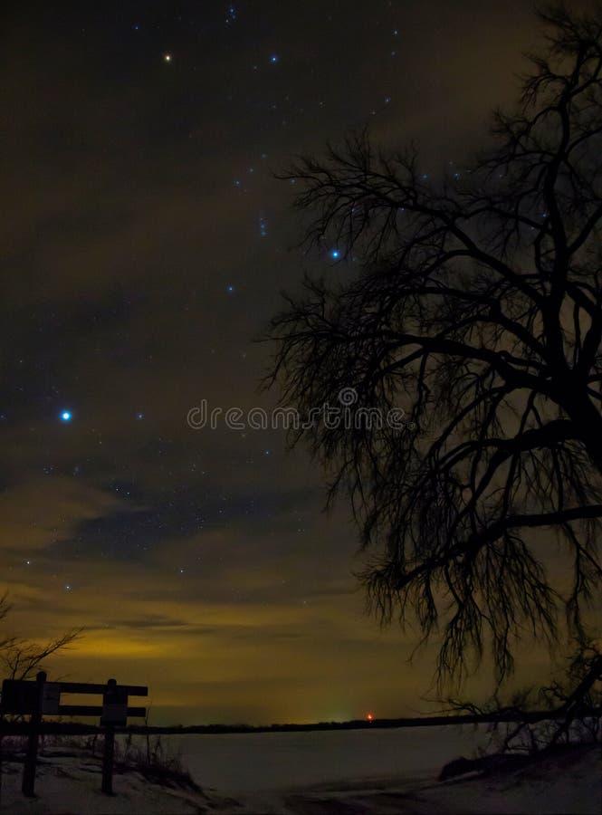 El cielo nocturno es lleno de constelaciones en el condado de Ottertail en Minnesota central imagen de archivo libre de regalías