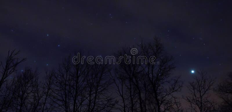 El cielo nocturno es lleno de constelaciones en el condado de Ottertail en Minnesota central imágenes de archivo libres de regalías
