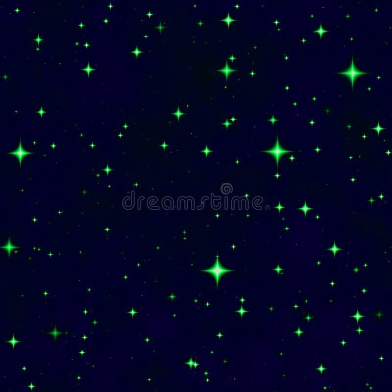 El cielo nocturno verde de la fantasía de la estrella ilustración del vector