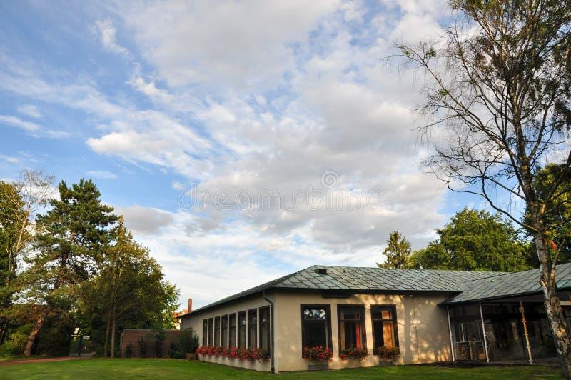 El cielo viejo inusual constructivo de los árboles del parque contiene arquitectura imagen de archivo
